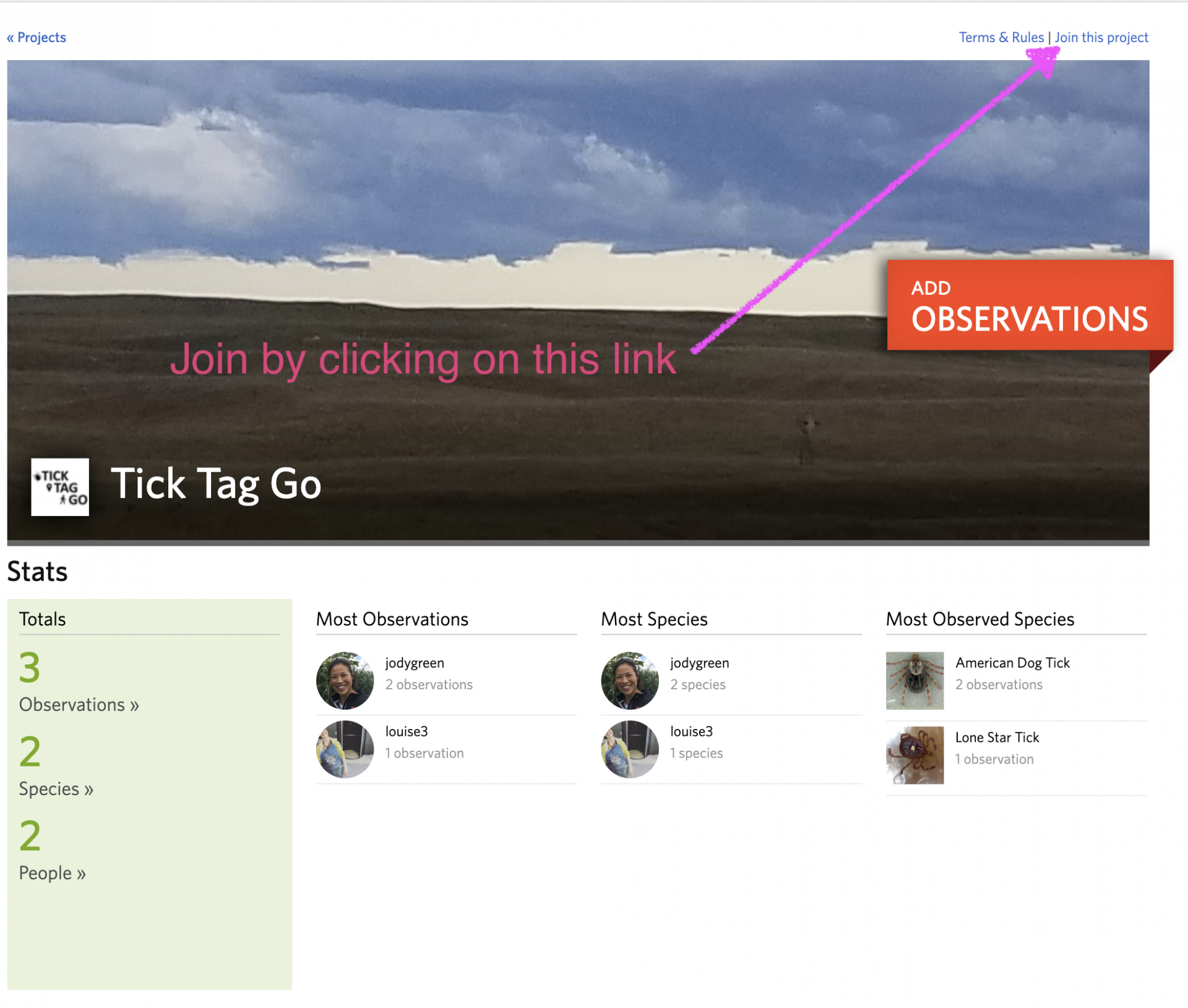 Tick tag go page on inaturalist